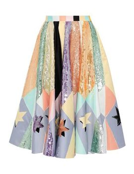 Sequin Embellished Printed Duchesse Satin Skirt by Emilio Pucci