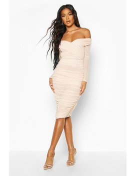 Off Shoulder Ruched Mesh Bodycon Midi Dress by Boohoo