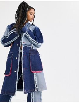 Db Berdan Oversized Contrast Panel Denim Overcoat by Db Berdan