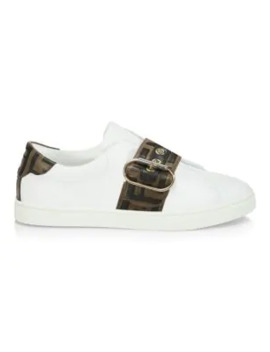 Logo Strap Leather Sneakers by Fendi