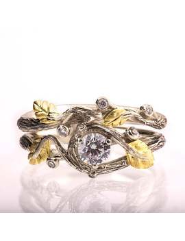 Twig And Leaf Engagement Ring, Twig Bridal Set, Twig Wedding Set, Leaf Diamond Ring, Leaves Ring, Twig Ring, Engagement Ring, 31 by Etsy