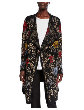 Pua Embroidered Knit Cardigan by Johnny Was