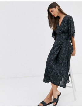 Liquorish Wrap Front Midi Dress With Tie Belt And Flutter Sleeves In Black Floral by Liquorish