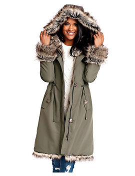 Faux Fur Trim Hooded Storm Coat by Fabulous Furs