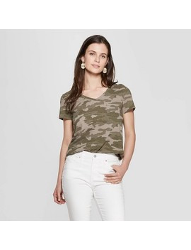 Women's Camo Print Relaxed Fit Short Sleeve V Neck Monterey Pocket T Shirt   Universal Thread™ Green by Universal Thread