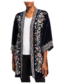 Rosa Embroidered Velvet Kimono Jacket by Johnny Was