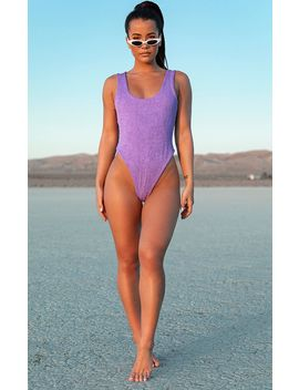 Purple Crinkle High Leg Swimsuit by Prettylittlething