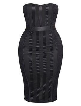 Shape Black Lace Mesh Stripe Bandeau Midi Dress by Prettylittlething