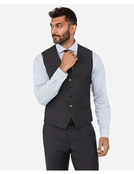 Charcoal Performance Stretch Wool Blend Suit Vest by Express