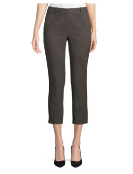 Treeca 2 Dotted Jacquard Straight Leg Cropped Pants by Theory