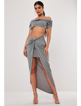 Gray Co Ord Asymmetric Wrap Midaxi Skirt by Missguided
