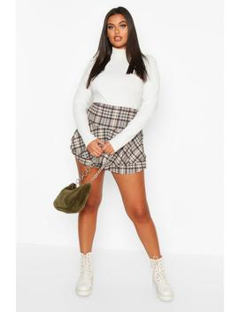 Plus Heritage Check Ruffle Skort by Boohoo