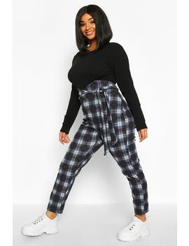 Plus Check High Waist Trousers by Boohoo