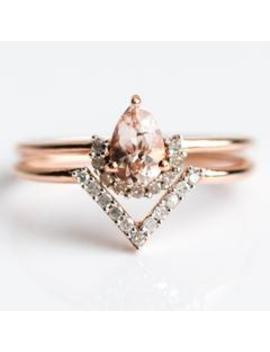 Rose Gold Pink Morganite & Diamond Angel Stacking Ring Set Rose Gold Pink Morganite & Diamond Angel Stacking Ring Set by Carrie Elizabeth Jewelry