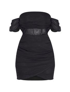 Black Chiffon Panel Insert Drape Bodycon Dress by Prettylittlething