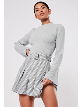 White Plaid Print Belted Mini Skirt by Missguided