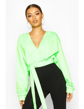 Plunge Front Crop Sweat by Boohoo