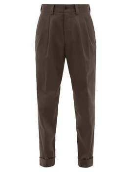 Pleated Tapered Cotton Trousers by Margaret Howell