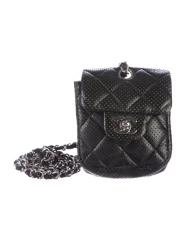 Auth Chanel Perforated Mini Flap Bag Black Leather Silver Hardware by Chanel  ×