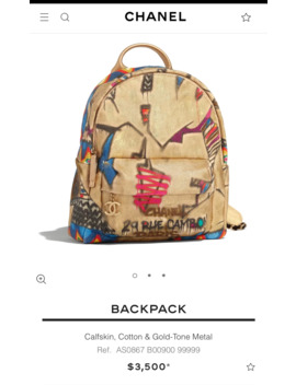 Backpack Calfskin, Cotton & Gold Tone Metal by Chanel  ×