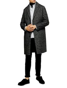 Leon Herringbone Single Breasted Wool Blend Coat by Topman
