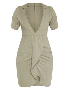 Khaki Linen Ruched Sleeve Deep Plunge Bodycon Dress by Prettylittlething