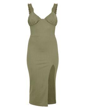 Khaki Ruched Cup Split Detail Midi Dress by Prettylittlething