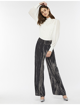Chitra Crinkle Velvet Wide Leg Trousers by Monsoon