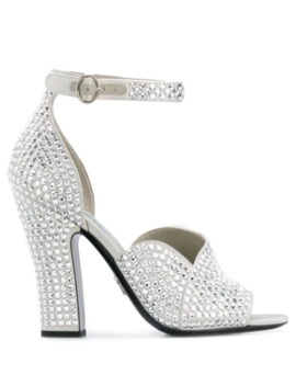Crystal Embellished Satin Sandals by Prada