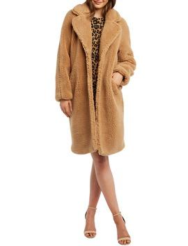 Faux Fur Long Coat by Bardot
