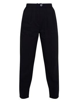 Black Woven Pleat Detail Cigarette Trouser  by Prettylittlething