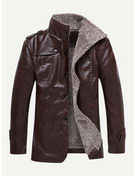 Guys Solid Velvet Lined Pu Jacket by Romwe