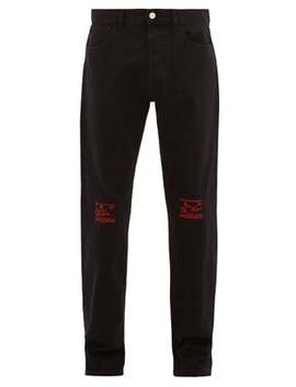 Embroidered Knee Straight Leg Jeans by Raf Simons