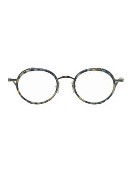 Tortoiseshell & Gunmetal Tb 813 Glasses by Thom Browne