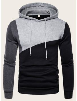 Guys Cut And Sew Drawstring Hooded Sweatshirt by Romwe
