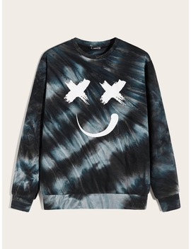 Guys Graphic Print Tie Dye Sweatshirt by Romwe