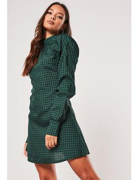 Green Plaid High Neck A Line Dress by Missguided