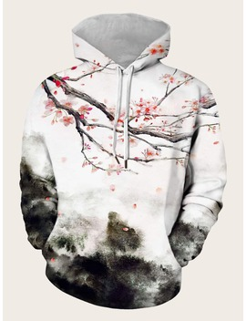 Guys Ink Painting Print Drawstring Hooded Sweatshirt by Romwe