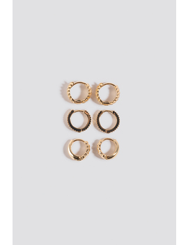 3 Pack Structured Tiny Hoops Gold by Na Kd Accessories