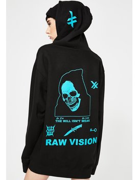 Teal Raw Vision Hoodie by Alien Body