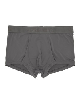 Grey Micro Low Rise Boxer Briefs by Calvin Klein Underwear