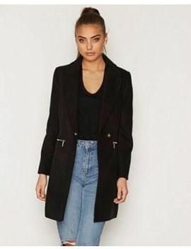 Topshop Meg Slim Fit Zip Pocket Boyfriend Crombie Biker Black Jacket Coat 6   8 by Ebay Seller