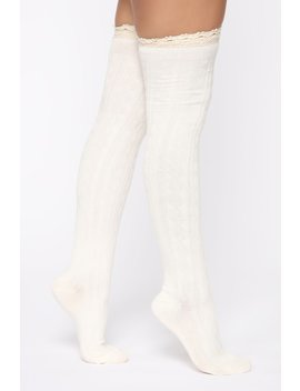 Simple Touch Over The Knee Socks   Ivory by Fashion Nova