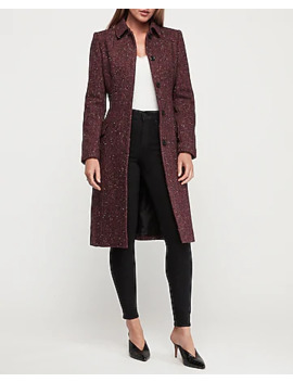 Long Belted Covered Button Tweed Car Coat by Express