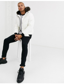 Asos Design Puffer Bomber Jacket In White With Fur Hood by Asos Design