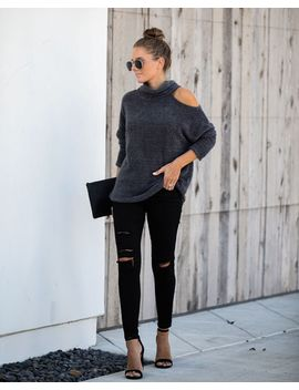 In The Shadows Cutout Turtleneck Sweater by Vici
