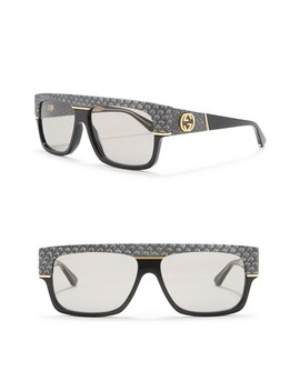 60mm Snakeskin Print Rectangle Sunglasses by Gucci