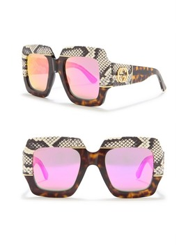54mm Snakeskin Print Oversized Square Sunglasses by Gucci