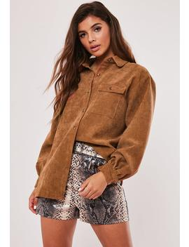 Rust Oversized Cord Shirt by Missguided