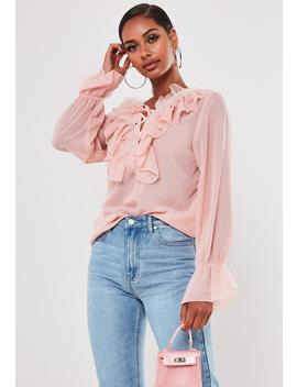 Blush Sheer Lace Up Frill Blouse by Missguided